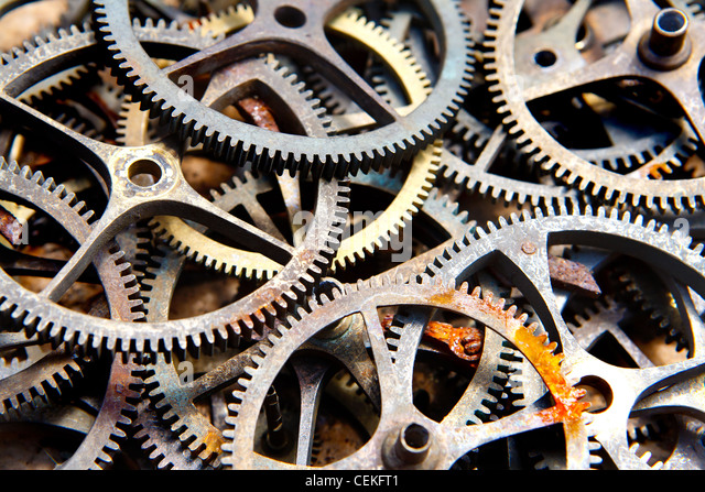 many old sprockets - parts of broken watches - Stock Image