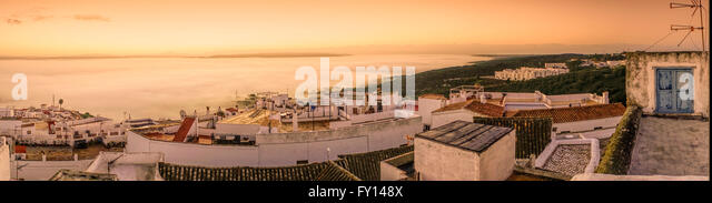 Vejer de la Frontera,  pueblo blanco village , sunrise, Panorama, Spain - Stock Image