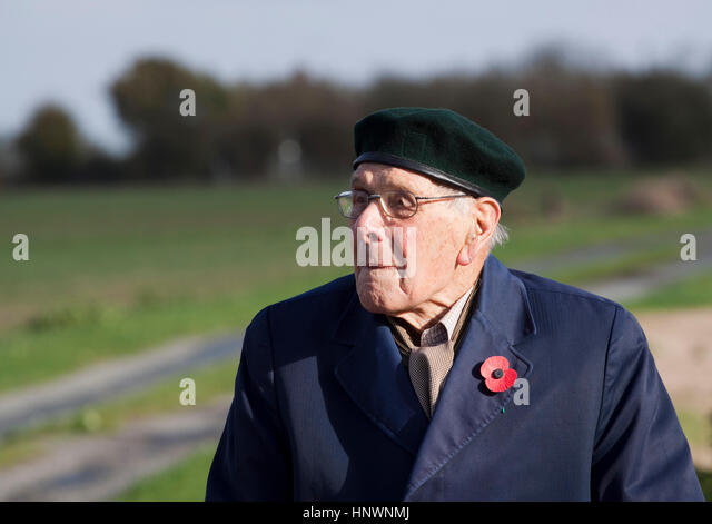 An old man wearing a beret and poppy attends an outdoor event to mark Remembrance day - Stock Image