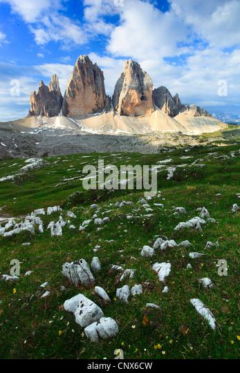 impressive mountain formation 'The Tre Cime di Lavaredo' ('Three Peaks' / Big Peak 2999 m), Italy, - Stock Image