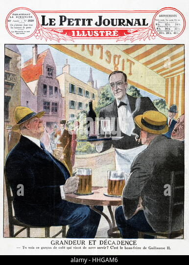 Illustration of men drinking German beer at a Paris street café from a 1903 issue of 'Le Petit Journal. - Stock Image