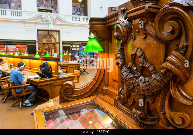 Australia Victoria Melbourne Central Business District CBD Swanston Street State Library of Victoria inside interior - Stock Image