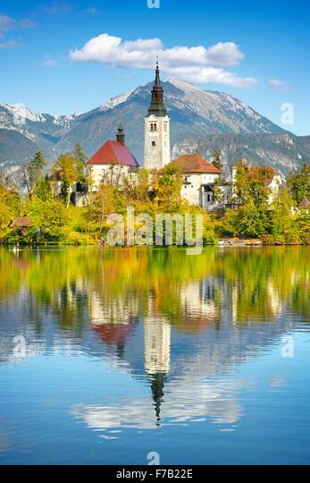 Lake Bled and Santa Maria Church, Slovenia - Stock Image