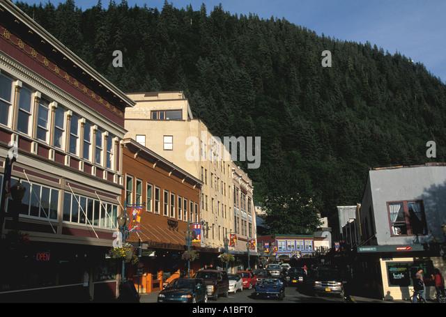 Alaska Juneau street skyline - Stock Image