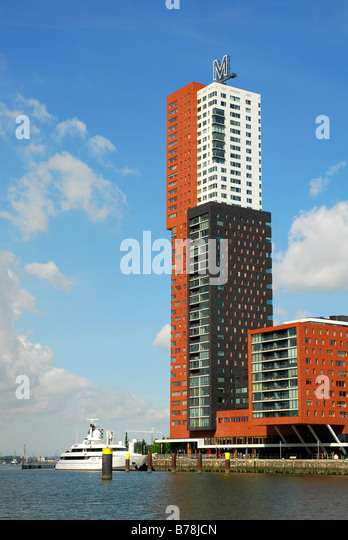Modern architecture at the Wilhelminapier: the Montevideo multistoried building, Rotterdam, South Holland, the Netherlands, - Stock Image