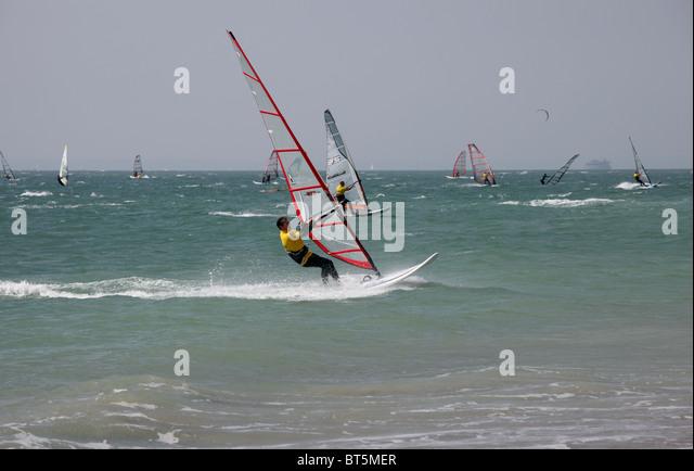 Windsurfers off Hayling Island - Stock Image