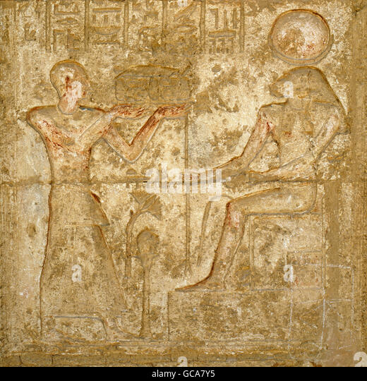 fine arts, ancient world, Egypt, Tuna el-Gebel, relief at tomb temple of Petosiris, High Priest of Thot, - Stock Image