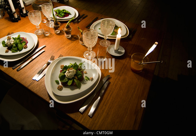 High angle view of food placed on table - Stock-Bilder