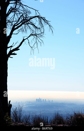 Los Angeles skyline in distance - Stock Image
