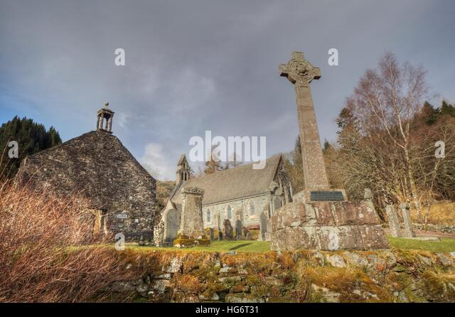 Balquhidder Church,Sterling,Scotland, UK - Rob Roy Red MacGregors resting place - Stock Image