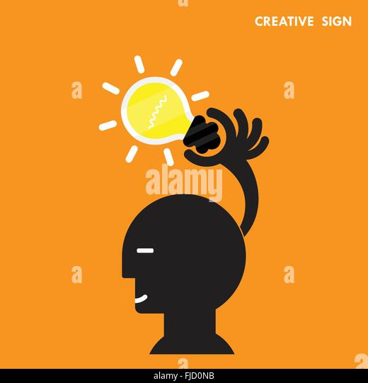 Head and Creative bulb light idea,flat design.Concept of ideas inspiration, innovation, invention, effective thinking, - Stock Image