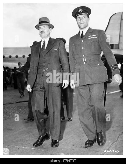 Photograph of Prime Minister Clement Richard Attlee (1883-1967) Leader of the Labour Party, at Berlin-Gatow airfield, - Stock Image