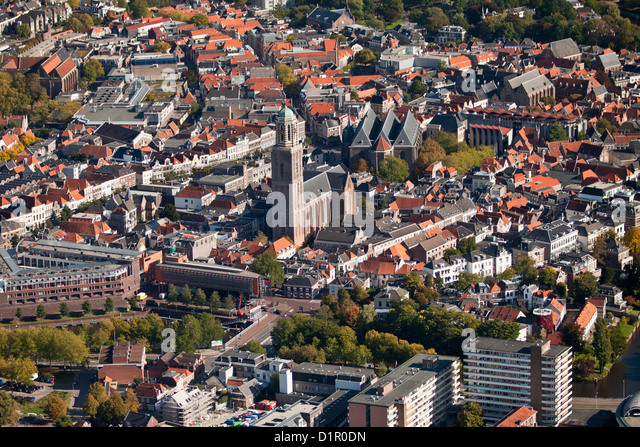 The Netherlands, Zwolle, City center. Aerial. - Stock Image