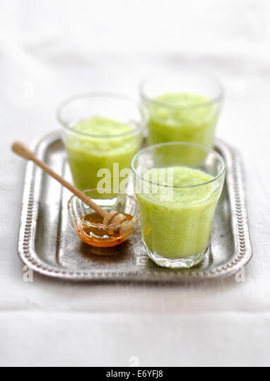 Apple-celery and honey smoothie - Stock Image
