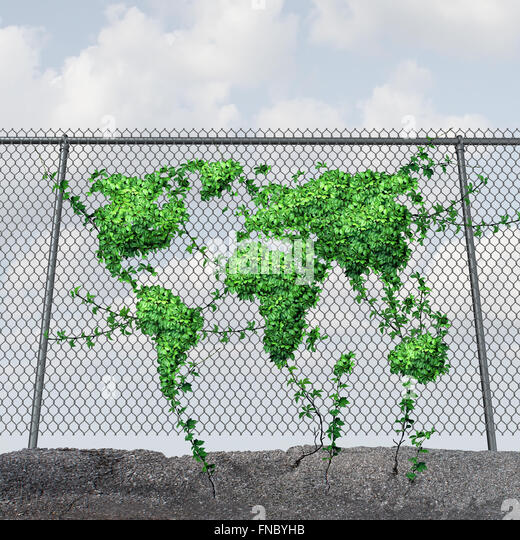 Earth Day concept and environmental protection symbol as a chain link fence with a growing green leaf vine shaped - Stock Image
