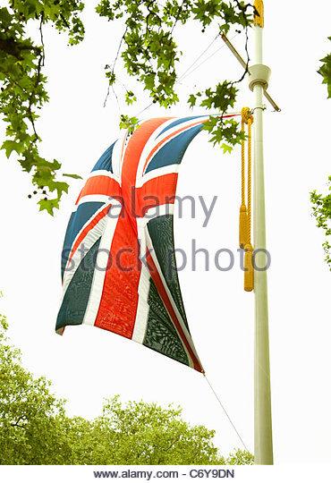 Union Jack flag on pole - Stock Image