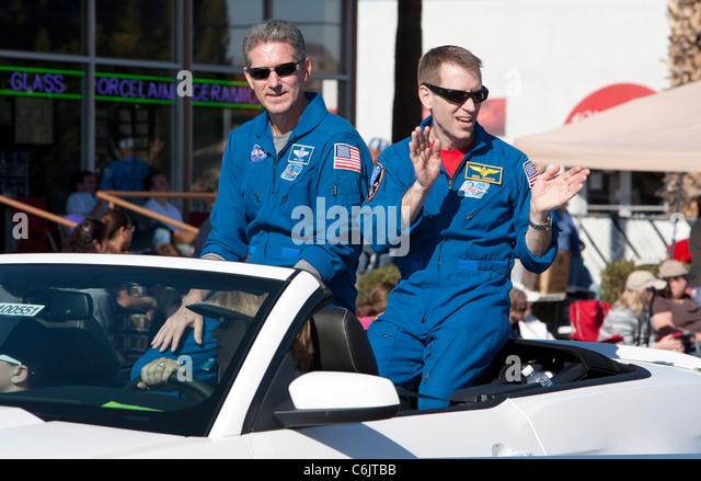 Astronauts Greg Johnson and Mike Good at the Fiesta Bowl Parade, Phoenix, Arizona, USA - Stock Image