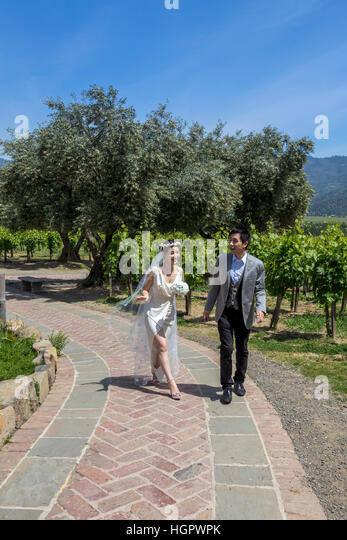 Newlyweds, Castello di Amorosa, Calistoga, Napa Valley, Napa County, California - Stock Image