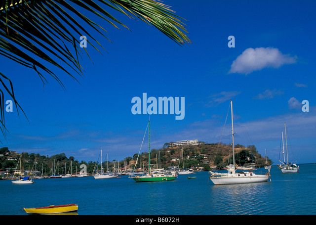 Grenada Yacht Club sailboats in calm harbor bright colors overview scenic landscape St. George's - Stock Image