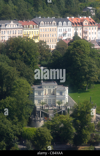 View of Karlovy Vary from Jelení skok, Villa Ritter (Lietzow)West Bohemia, Czech Republic, Europe - Stock-Bilder