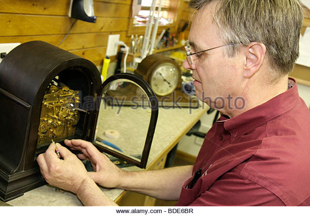 Michigan Frankenmuth German Bavarian ethnic community Frankenmuth Clock Company business display time timepiece - Stock Image