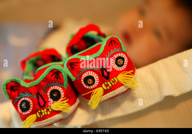 a pair of lucky baby shoes - Stock Image
