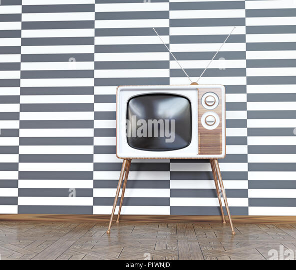 vintage television over white& black  background. 3d concept - Stock Image