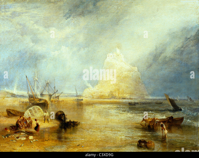 St. Michael's Mount, by J.M.W.Turner. Cornwall, England, 1824 - Stock-Bilder