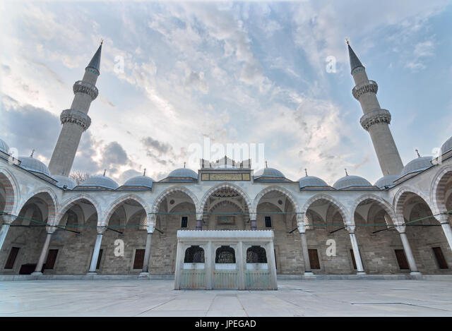 Exterior low angle day shot of Suleymaniye Mosque, an Ottoman imperial mosque located on the Third Hill of Istanbul, - Stock Image