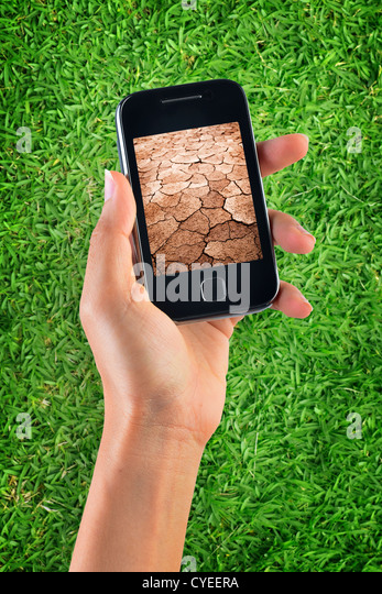 Contrast of green grass and dry soil - Stock Image