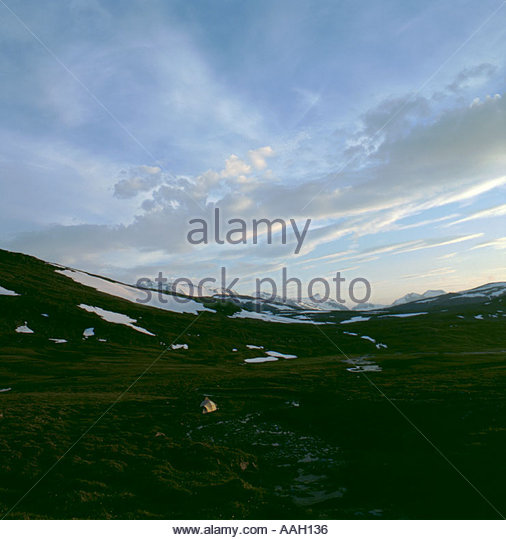 Sulitjelma mountains, Norwegian Swedish border, from Staddajakka river, Padjelanta National Park, Norrbottens Län, - Stock Image