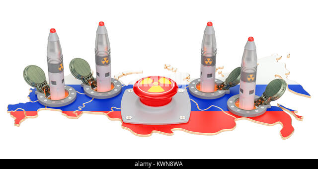 Russia nuclear button concept. Russian missile launches from its underground silo launch facility, 3D rendering - Stock Image