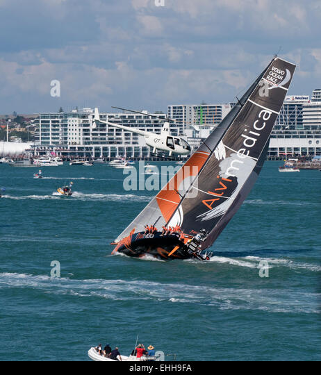 Auckland, New Zealand. 14th Mar, 2015. Team Alvimedica in Waitemata Harbour during the the Auckland In-port race - Stock Image
