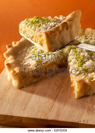 Pineapple,coconut and lime pie - Stock Image