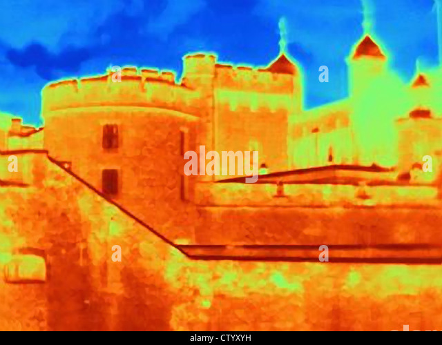 Thermal image of Tower of London - Stock Image