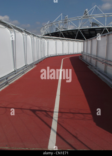 Red carpet at the entrance to the London 2012 Olympic stadium - Stock Image