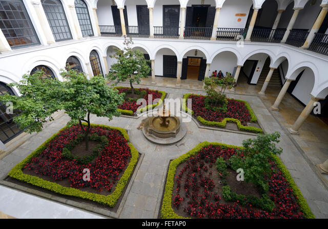 Courtyard, Botero Museum or Museo Botero, La Candelaria, Bogotá, Colombia - Stock Image