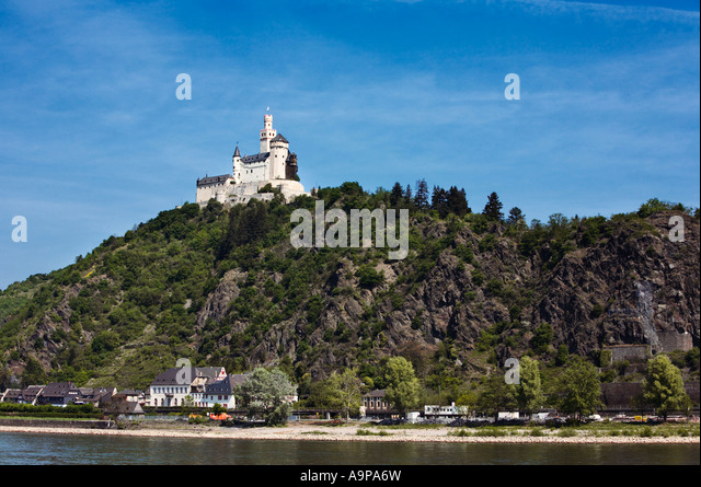 Castle Marksburg near Braubach on the River Rhine, Rhineland, Germany, Europe - Stock Image