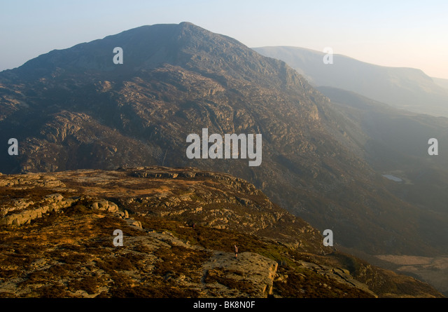 Rhinog Fach from Rhinog Fawr, Rhinog Mountains, Snowdonia, North Wales, UK - Stock Image
