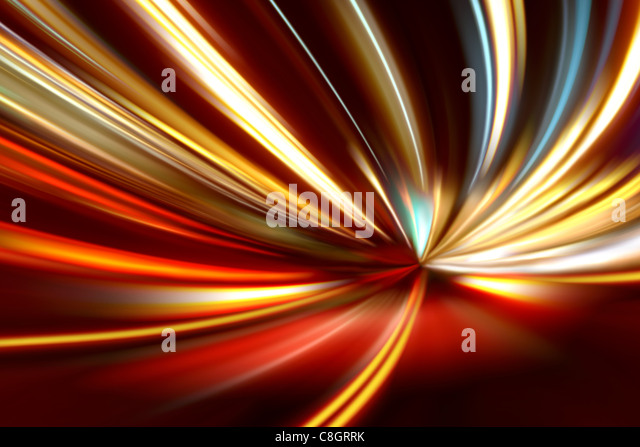acceleration of the motion on the night road - Stock Image