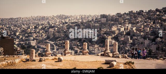 Skyline and Citadel in Amman, Jordan - Stock Image