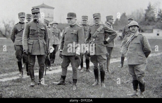 General Foch and his staff visit the Italian front. - Stock Image
