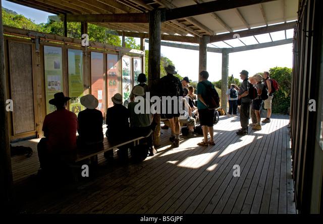 The public shelter on Kapiti Island, New Zealand - Stock Image