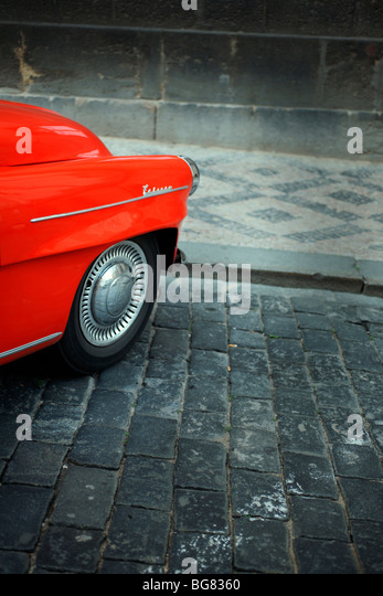 Red front of an old collectors race car in Prague, Czech Republic. - Stock Image