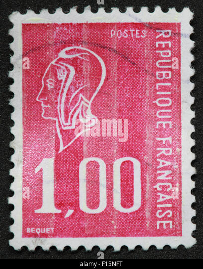1f 1.00 Postes Republique Francaise BEQUET face pink red Stamp - Stock Image