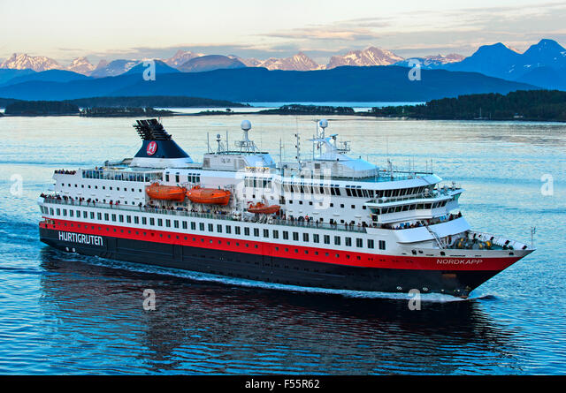 MS Midnatsol, Hurtigruten passenger and ro-ro ship, Moldefjord in Molde, Norway - Stock Image