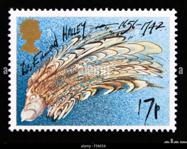 Postage stamp. Great Britain. Queen Elizabeth II. 1986. Appearance of Halley's Comet. Dr. Edmond Halley as Comet.17p. - Stock Image
