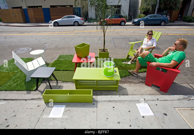 Third annual Park[ing] Day LA, Abbot Kinney Blvd, Venice, Los Angles, California - Stock Image