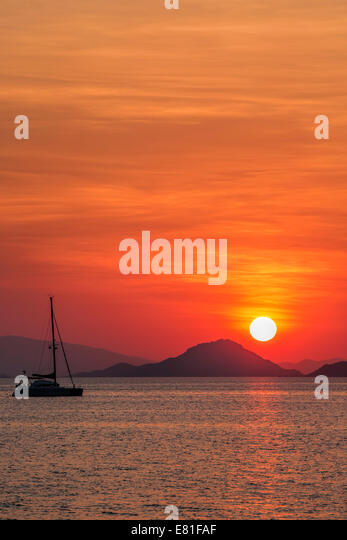Sunset on Flores - Stock Image