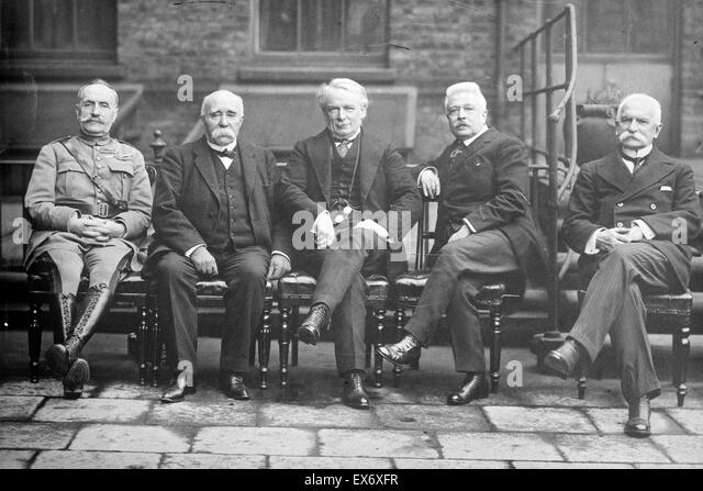 Photograph shows French General Ferdinand Foch (1851-1929), French Prime Minister Georges Benjamin Clemenceau (1841 - Stock Image